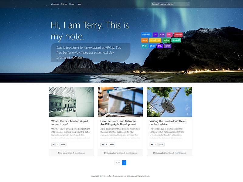 Mynote WordPress Theme - TerryL